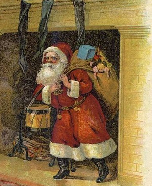 Illustration from Clement C. Moore's (1779-1863) Night Before Christmas, circa 1870. Illustrator Unknown.